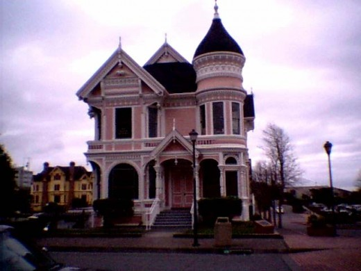 """The Pink Lady"", another classic Victorian mansion constructed by lumber baron William Carson in 1889. It resides across the street from the Carson Mansion in Eureka, Ca"