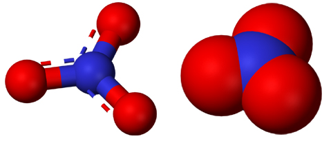 Balls/stick structure & Space-filling model of the nitrate ion