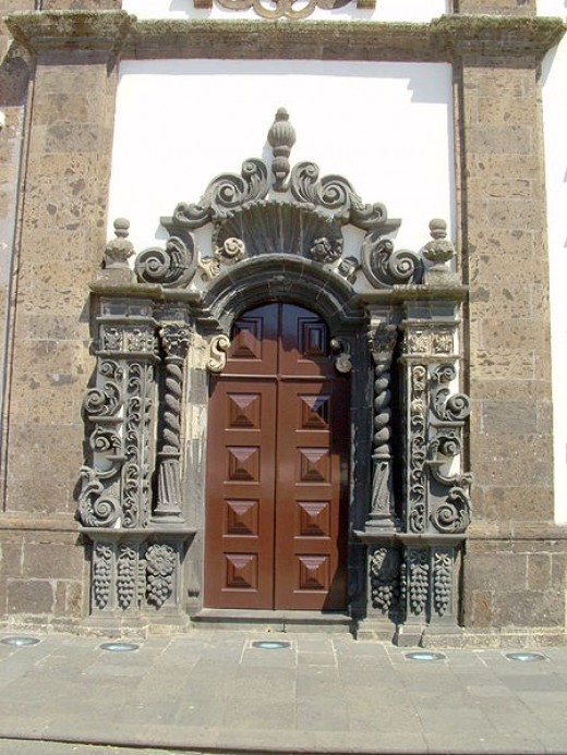 side door of the ChBatalha Monasteryurch of St. Sebastian in the city of Ponta Delgada on the island of Sao Miguel in the Azores