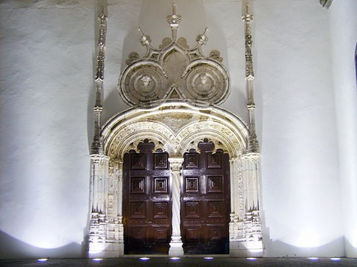 side door of the Church of St. Sebastian in the city of Ponta Delgada on the island of Sao Miguel in the Azores