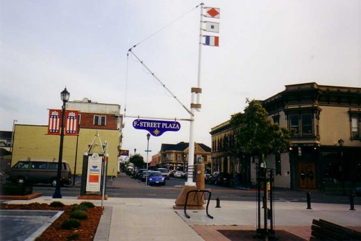 The F Street Plaza, leading to the newly constructed Boardwalk in Old Town Eureka, Ca