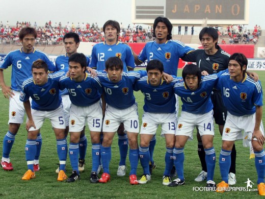 The feisty Japanese national soccer team. Photo from www.football-wallpapers.com
