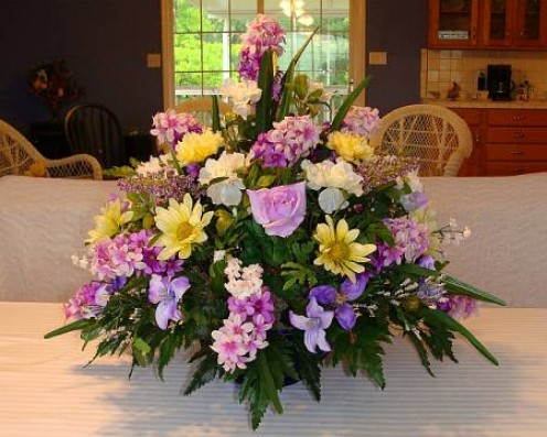"Centerpiece Arrangement of ""Silk"" Flowers In Cobalt Blue Glass Bowl"