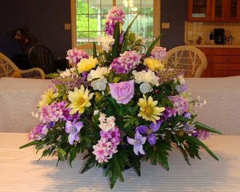 """Centerpiece Arrangement of """"Silk"""" Flowers In Cobalt Blue Glass Bowl"""