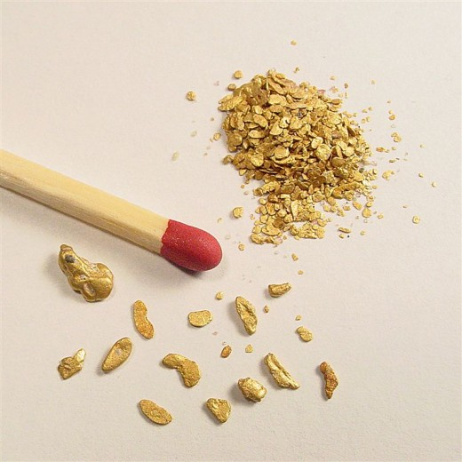 Gold Nuggets Comparable Size to Match
