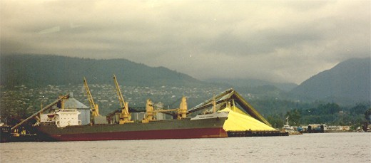 Sulfur being loaded onto a ship for export