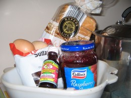 Ingredients needed for the Bread and Jam Pudding