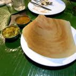 Masala Dosa with chutney and sambar