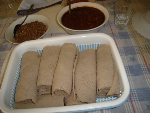 Modern day presentaion of injera and wot photo by lelanew55
