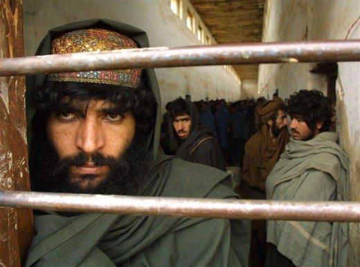 Taliban fighters in custody in northern Afghanistan in January 2002