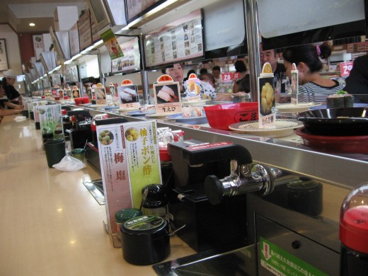 Sushi delivered on a conveyor belt. What could be better?