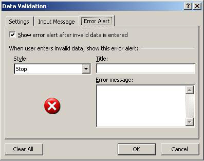 Turn off the error alert to allow invalid entries