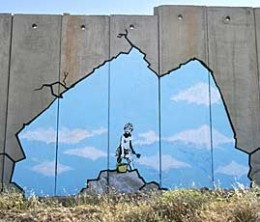 """Old Man: """"You paint this wall. You make it beautiful."""" Banksy: """"Thanks."""" Old Man: """"We don't want it to be beautiful. We hate this wall. Go home."""""""
