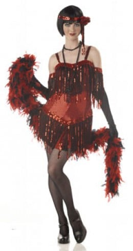 Your Teen will look like a true 1920 Gangster Moll mama in this Red Flapper Halloween Costume.