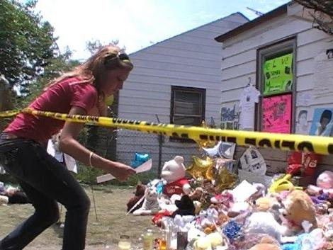 The day Michael Jackson died, a shrine of flowers, stuffed animals, signs and tearful mourners sprang up outside his childhood home. Greg, his wife, Dawnyell and son made the trip a few days later to capture the mood in pictures and video.