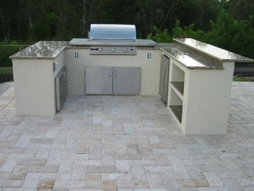 TEC infrared gas grill built into an outdoor kitchen custom build on site.