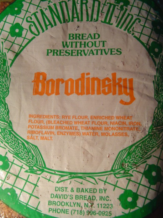Borodinsky bread label and ingredients