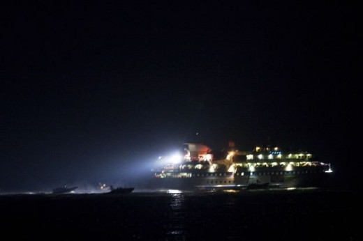 "AP -- image of the ""freedom flotilla"" at night"