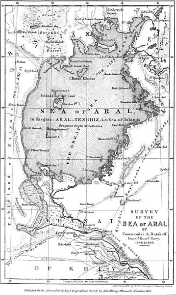Russian Navy survey map of the Aral Sea, 1853 Image courtesy Wikimedia Commons