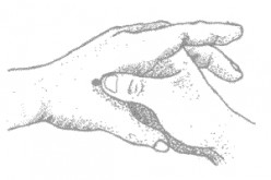 Acupressure- Squeezing the muscle between the thumb and pointer.