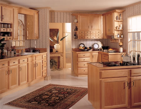 kitchen cabinets that could be used in the bathroom - classic cherry raised panel with arched glass front doors