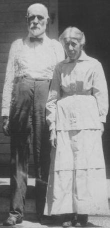 "Philip & Annie circa 1919, at the ""home place"" on North Merchant, Emporia, KS."