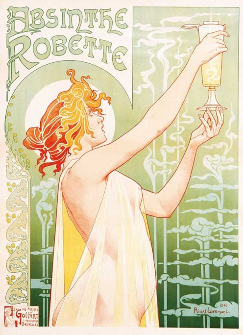 Picture, of woman holding Absinthe