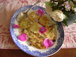 Elder flower and acacia blossom fritters.