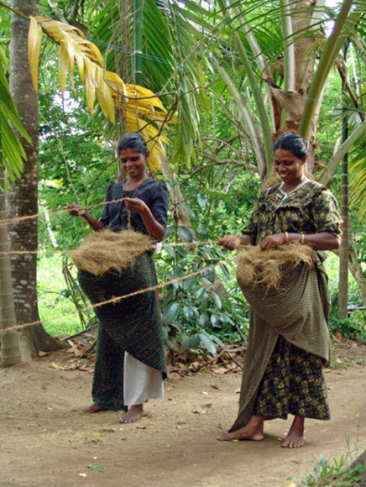 Making Rope From Coconut Fiber