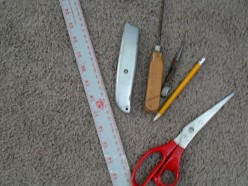 Gather together the tools needed for the table skirt project.