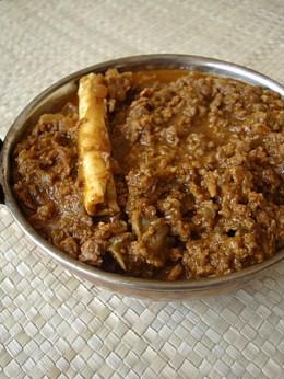 Spicy minced keema meat curry prepared using garam masala.