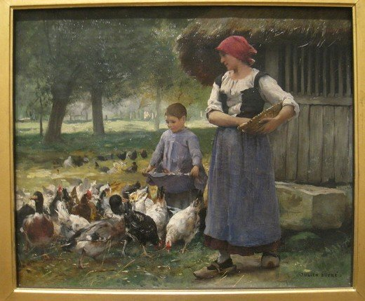 """Farm Girl Feeding Chickens"" by Julien Dupr (1851-1910)."