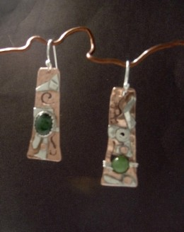 """Jaded"" Copper and sterling silver with bezel set jade."