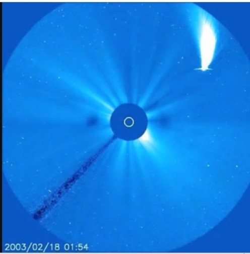 large jupiter sized comet approaching the sun in February 2003