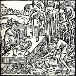 Vlad the impaler was infamous for impaling hundreds of enemies at the same time. He would eat his meals while watching the enemy writhe in their prolonged death agonies. He is the inspiration for our mythical character Dracula.