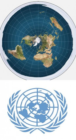 A map of the earth as a disc, and the UN emblem that is claimed to support the theory.