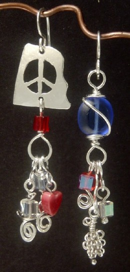 """The Colors of Peace"" Earrings - Sterling Silver - cutwork, wirework and glass."