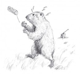 Woodchuck chucking wood.  (Yes, I switched art styles on you; my daughter got bored so I'm stuck doing the rest myself.)