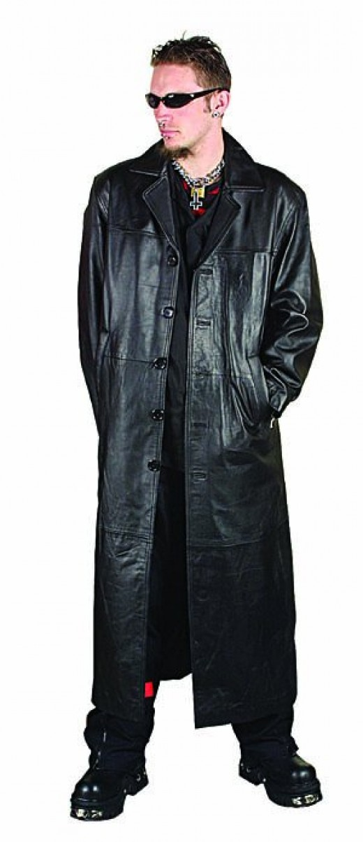 Leather trench coat. This ain't Matrix...