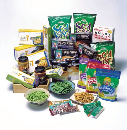 Snack foods made from soy that are available at the grocery markets now.