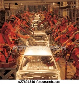 Car assembly has come a long way, with robots doing much of the assembly line work. There are fewer laborers, but those that remain run the robots, each of which has replaced assembly line workers. This is part of the alienation of labor from product