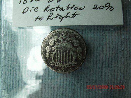 Obverse 1870 Nickel 20% Die rotation error