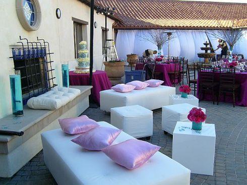 The hip lounge area makes any wedding reception more enjoyable.