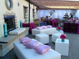 The hip lounge area makes any wedding reception more enjoyable.