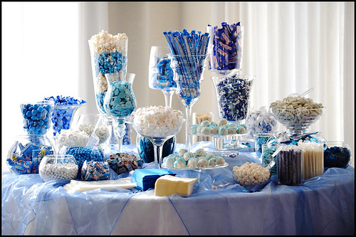 Color coordinated candy buffets are a favorite wedding favor.