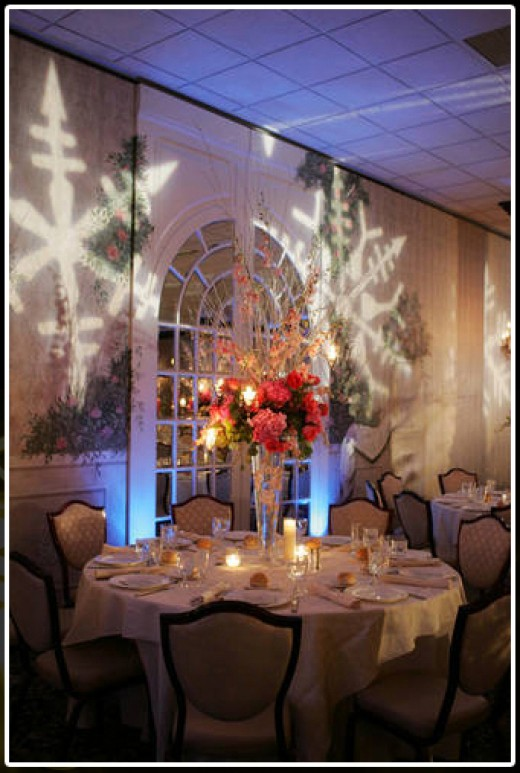 Custom lighting is divine for theme weddings.
