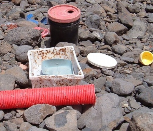 Plastic rubbish washed up on a Tenerife beach