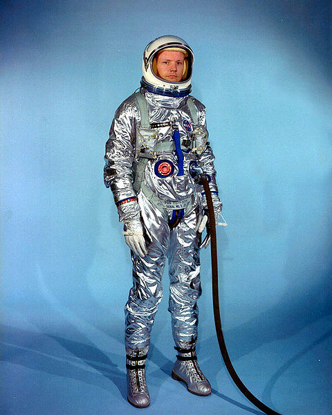 Astronaut Neil Armstrong in an Gemini G-2C training suit. He had been a Naval Test Pilot and served in the Korean War.