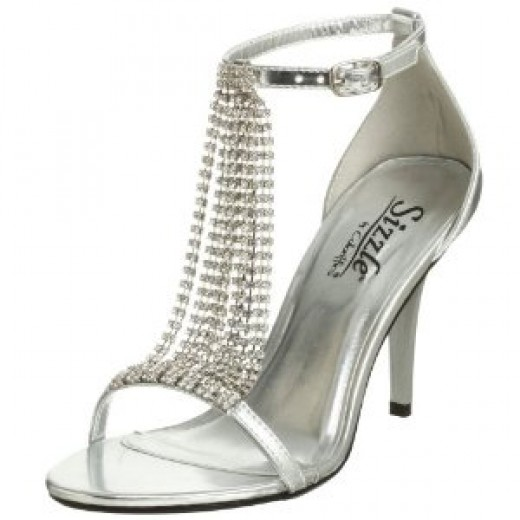 Silver Bridal Shoes with Rhinestones