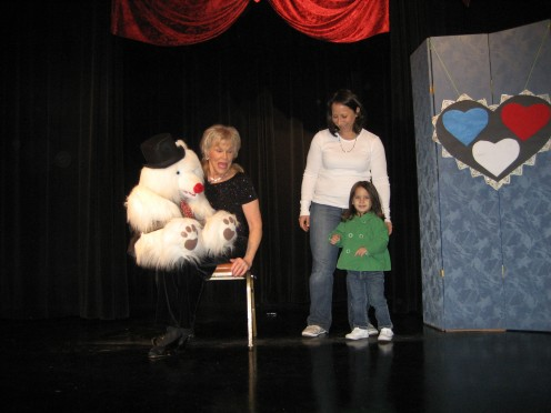 One of our first stage performances - a puppet show at the Marie Hitchcock Puppet Theater in Balboa Park, San Diego...my daughter volunteered to come on stage...